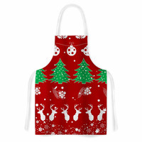 """Famenxt """"Christmas Vibes Red"""" Red Green Illustration Artistic Apron"""