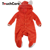 NewBorn Baby Boy Girl Cute Fox Coral Fleece Romper Infant Babies Clothes Meninas Jumpsuit Snowsuit Animal Overall
