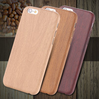 i6/6s/Plus Retro Wooden Case For iPhone 6 Plus 5.5 Simple Wood Pattern Skin Leather Cover For iPhone 6 4.7/6s For iPhone 6s Plus