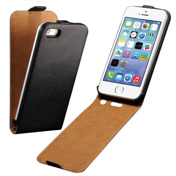 Flip Case For Apple iPhone 5 5S SE PU Leather Cover + Hard Black Plastic Back Luxury i Phone With Magnetic Buckle Fundas