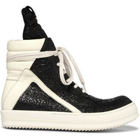 Rick Owens - Geobasket Coated-Nubuck and Leather High-Top Sneakers