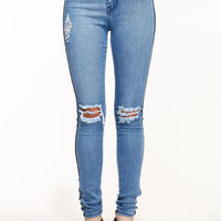 High Waisted Stripe Jeggings - LoveCulture