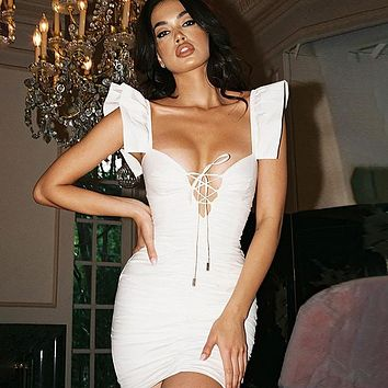 fhotwinter19 Women's new style hot sale fashion lace solid color dress