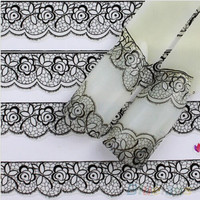 3D Lace Flower Pattern Nail Art Stickers Black Manicure Nail Decals Tips LS S1