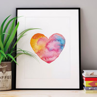 Watercolour Love Heart Illustrated Print