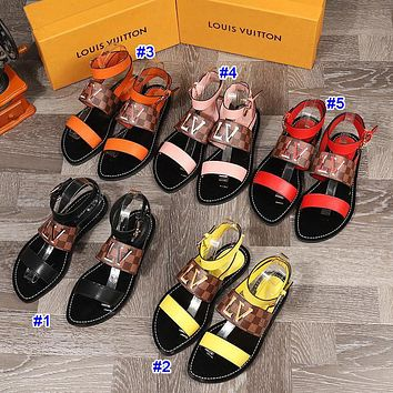 Louis Vuitton LV new best-selling colorblock printed women's casual sandals