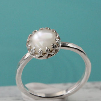 Stacking ring, sterling silver white mother of pearl 8 mm cabochon in princess crown gallery setting, wedding anniversary June birthday gift