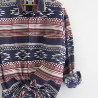 90s southwestern western shirt. oversized tribal button down flannel. men's size XL