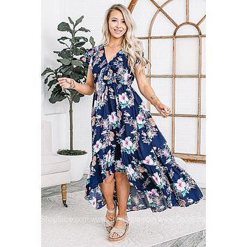 French Countryside Floral High Low Maxi
