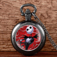 Antique Black Nightmare Before Christmas Pocket Fob Watch Necklace Retro Pendant  Gift