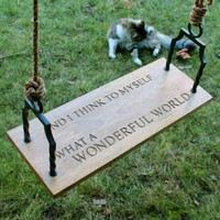What A Wonderful World - Wood Swing with Hand Forged Brackets - 24-in