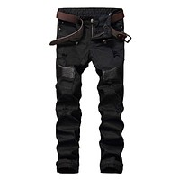 Fashion Hi-Street Mens Ripped Biker Jeans Pants Leather Patchwork Distressed Denim Joggers Slim Fit Straight Trousers Red White