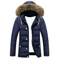 2017 Winter Ultra Light Mens Duck Down Jackets Luxury Faux Fur Hooded Coat 3XL Long Sleeve Warm Goose Down Jacket Plus Size