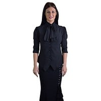 Gothic Victorian Steampunk Black Ruffle Tie Neck Rutched Sleeve Blouse