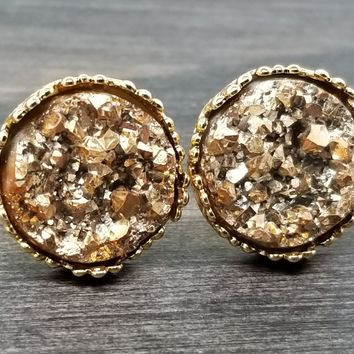 Chunky Gold faux druzy in Crown stud earrings (you pick setting tone)