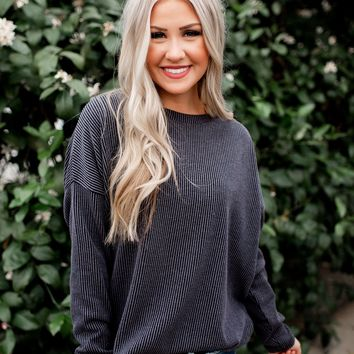Just Ask Me Ribbed Sweater (Charcoal)