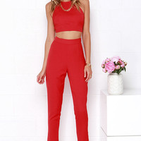 Well-Suited Red Two-Piece Set