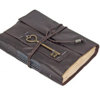 Brown Leather Journal with Tea Stained Pages and Heart Key Bookmark