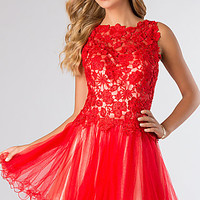 Short Sleeveless Baby Doll Lace Dress by Dave and Johnny