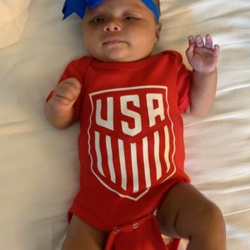 USA Womens Soccer Onesuit - Mia Grace Designs - Ruffles with Love - Girls Onesuit