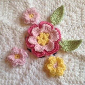 Hand Crochet Flowers Appliques Embellishments-Set of 6 In Key Lime Pie, Sunshine Yellow, Bubblegum Pink and Cotton Candy Pink
