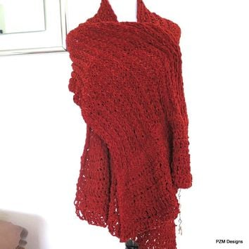 Orange Chenille Hand Knit Shawl, Orange Knit Wrap