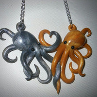 Intertwined Octopi in love Necklace,  silver and gold