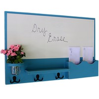 Mail Organizer - White Board - Coat Hooks - Letter Holder - Mason Jar
