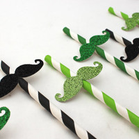 Set of 10 St. Patrick's Day Glitter Mustache Paper Straws in Green, Light Green, and Black