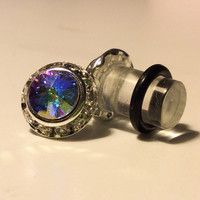 00g, 0g, 2g, 4g AB Crystal GENUINE Swarovski Elements PLUGS Wedding Bridal Bridesmaid Special Occasion Costume Jewelry
