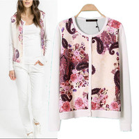 Digital Print Long Sleeve Knitted Cardigans Sweater