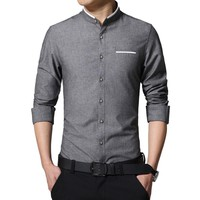 Casual Long Sleeve Collarless Shirts Slim Fit