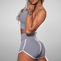 New solid color sexy hip bra shorts sports fitness suit two-piece suit