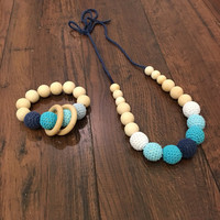Blue teething necklace, aqua teething necklace, baby teether, mom necklace, crochet bead, toddler teething necklace, wood teether, baby
