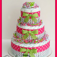 Baby Girl Diaper Cake, pink and grey , baby shower decorations , pink and green baby shower