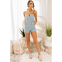Proper Credit Strapless Romper (Misty Blue)