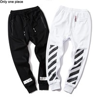 OFF WHITE fashion new fleece-cut pants hot seller pair of casual ankle pants