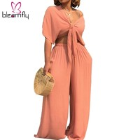 Plus Size Sexy Two Piece Set Women Outfits Bow Tie Tops+Wide Leg Pants Sexy Nightclub Women's Suit Casual Clothes Matching Sets