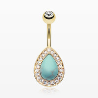 Golden Avice Turquoise Multi-Gem Belly Button Ring