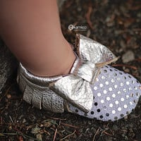 Baby Moccasins with Silver Sequin Bow Leather Moccs Moccasin Shoes