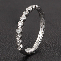 Hand Crafted Stackable Bezel Diamonds 14K White Gold Twig Wedding  Ring Art Deco