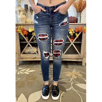 Judy Blue Plaid Patch Skinny Jeans (Red)