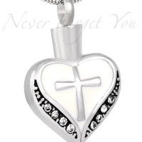 """Cremation """"White Cross Heart"""" Urn Necklace"""