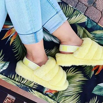 Bunchsun UGG Hight Quality Women Fashion Multicolor Fur Flats Sandals Slippers Shoes