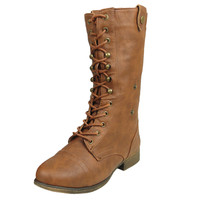 Womens Mid Calf Boots Folded Cuff Buckle Accent Lace Up Combat Shoes Tan SZ