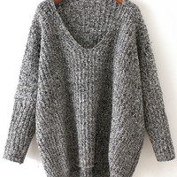 Grey V Neck Knit Long Sleeve Sweater