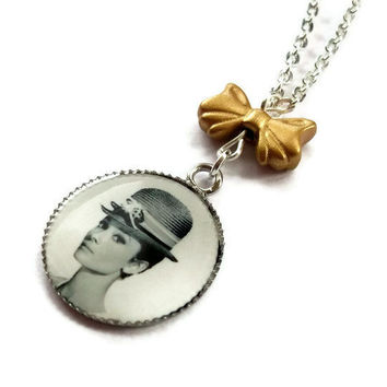 Audrey Hepburn Necklace Cute Cameo by KitschBitchJewellery on Etsy