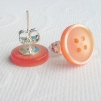 Earrings Orange Button Stud Post Spring Summer Accessory