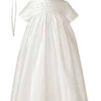 Family Heirloom 100% Silk Cross Embroidered Christening Gown 0-12m