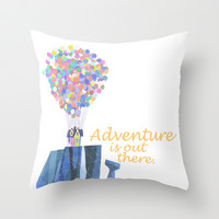 adventure is out there.. cursive Throw Pillow by studiomarshallarts